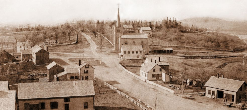 1886 image of Old Center, North Andover, with North Parish's 5th Meeting House at the crossroads