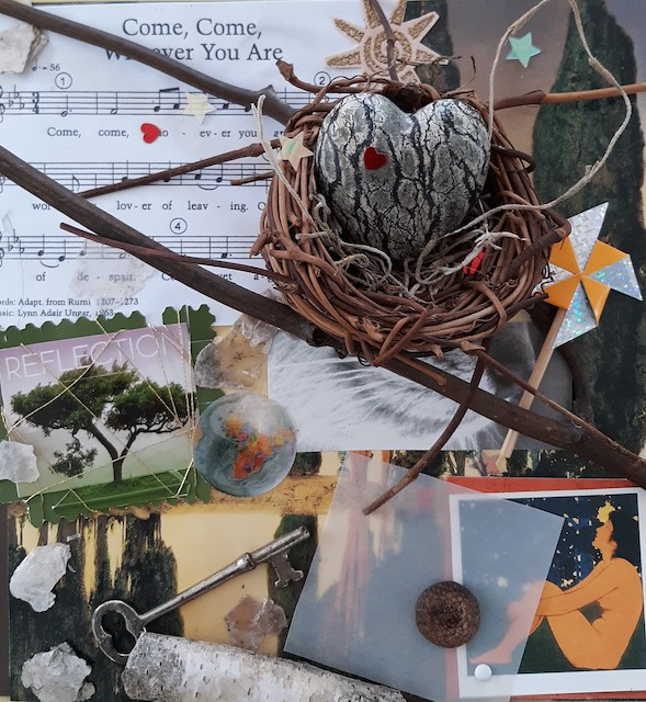 Collage of symbols from nature, music, heart - our diversity