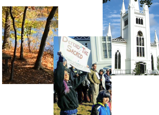 Fall collage of trees with changing leaves, community members displaying solidarity with signs, and the front of the church on a bright morning