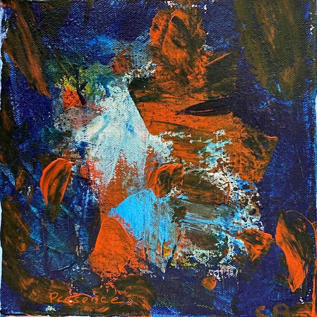 Presence - an abstract image of blues and orange