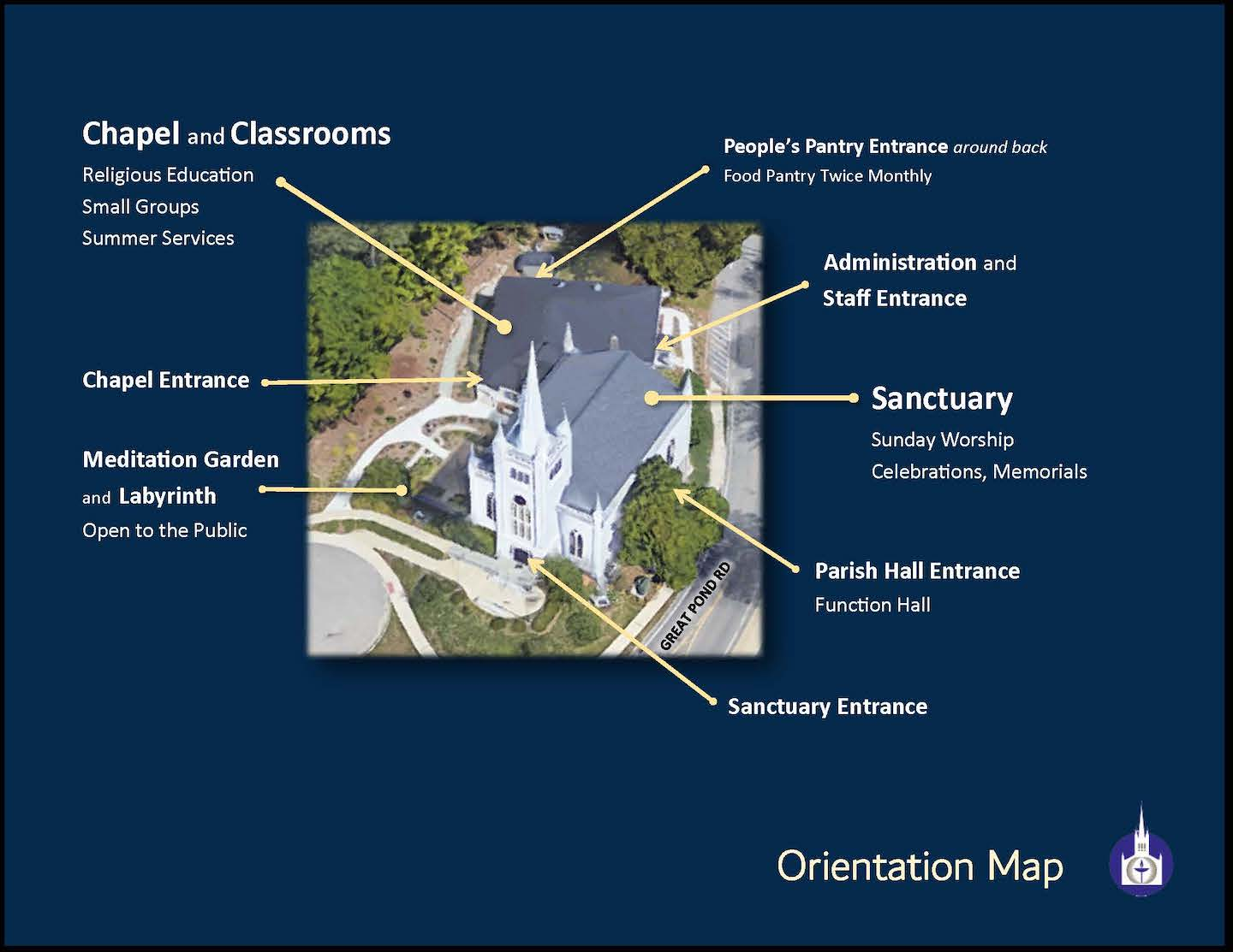 Aerial view of the Church Building showing locations and names of entrances