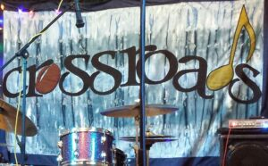 Crossroads Music Series stage backdrop