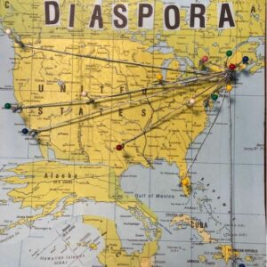 Diaspora - a map showing connections to places around the country where former North Parish have moved