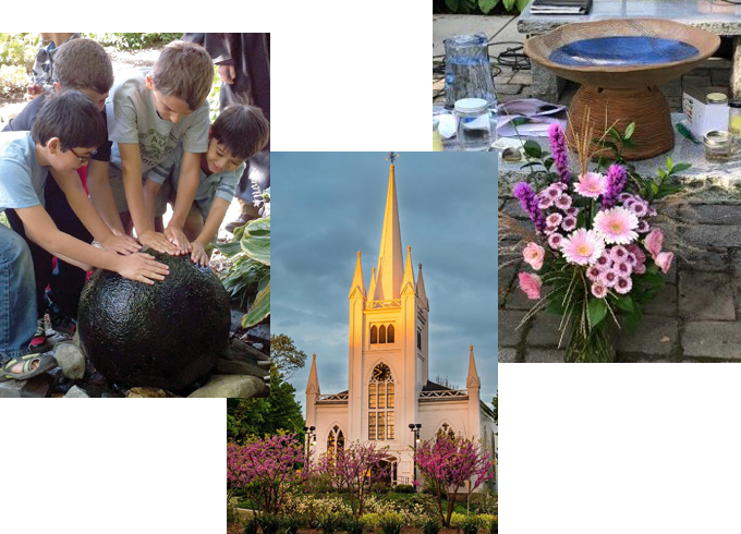 Photo collage of North Parish building in sunlight, children playing with the water feature in the lower yard; flowers, rocks, and water at an outdoor altar