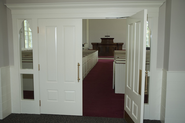 Open door from the lobby into the sanctuary