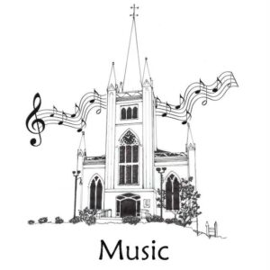 A line of music notation floating in the air behind a graphic image of the church