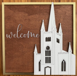 Wood art of North Parish with Welcome