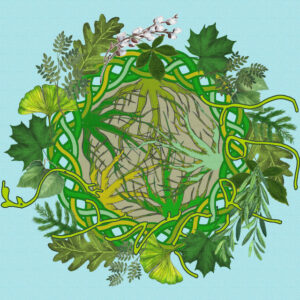 Green vines and plant life interwined