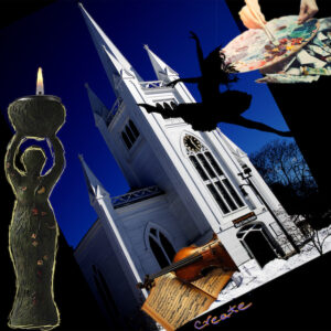 Collage image of the goddess, a violin and music, a dancer, a painter, superimposed on a photo of the church
