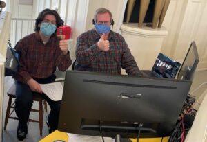 Eddie and Steve manage Zoom broadcast of Sunday worship service
