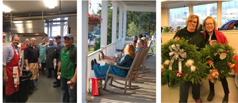 Photos from fun-fundraising events - Men's group cooking, folks on the porch at Ferry Beach, making wreaths for the Red Bow Fair