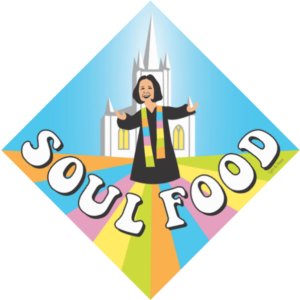 """Graphic image of Rev. Lee , arms outstretched in front of the church with the title """"Soul Food"""""""