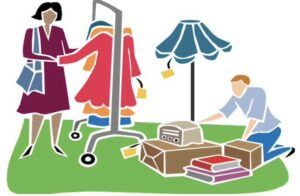 Graphic image of a yard sale - clothes on a rack, miscellaneous goods to browse, and two shoppers